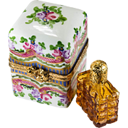 Rare Amber Perfume Bottle Trinket Box Limoges France Peint Main Roses