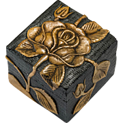 Vintage Carved Stone Rose Black Vietnamese Trinket Box