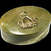 Victorian 12k Gold Over Silver British Empire Emblem Hand Carved Connemara Marble Desk Trinket