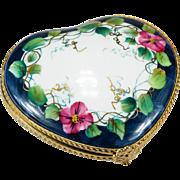 Heart Morning Glory Vine Hand Painted Limoges Vanity Compact Trinket Box