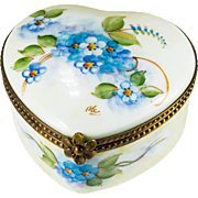 Limoges France Forget Me Not Bluebell Flower Hand Pained Signed Trinket Box