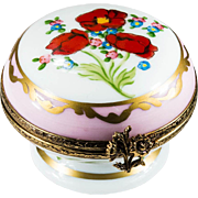 Limoges France Limited Edition Numbered Hand Painted Poppy Forget Me Not Flower Gold Pedestal