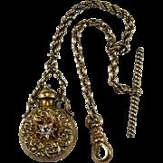 Antique Old European Cut Georgian Paste Perfume Bottle Pendant 14k Gold Watch Fob Chain Clip