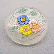 SOLD Exquisite 1920's Czech Art Glass Etched Pin RARE - Vintage Czech Frosted Glass Bead w/ Fl