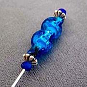 SOLD Dazzling Venetian Art Glass Stick Pin, RARE 1940's Vintage Turquoise & Silver Foil Veneti