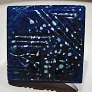 SOLD Stunning German Art Glass Pin, SCARCE 1930's Lapis Glass Bead