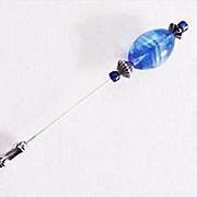 SOLD Stunning Blue Czech Glass Stick Pin, RARE 1960's Czech Glass Bead