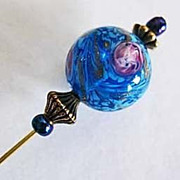 SOLD Gorgeous Turquoise Venetian Art Glass Stick Pin, Murano Glass Bead, Aventurina