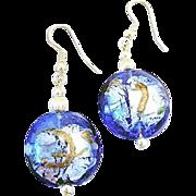SALE Dazzling Blue Venetian Art Glass Earrings, Silver Foil Murano Glass Beads, Aventurina