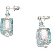 SALE Stunning Aquamarine Venetian Art Glass Earrings, Silver Foil Murano Glass Beads, Cube