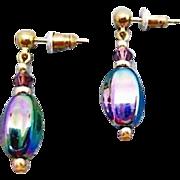 SALE PENDING Gorgeous German Art Glass Earrings, SCARCE 1960's Metallic German Beads