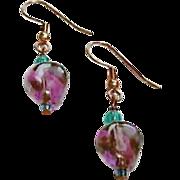SALE Gorgeous Purple German Art Glass Earrings, RARE 1960's German Beads