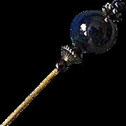 SOLD Stunning Blue Venetian Art Glass Stick Pin, RARE 1940's Aventurina Venetian Bead