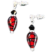 SALE Fabulous German Art Glass Earrings, Red, Black & Silver, SCARCE German Glass Beads