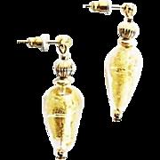 SALE Stunning Venetian Art Glass Earrings, 24K Gold Foil Murano Glass Beads