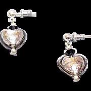 SALE Fabulous Venetian Art Glass Earrings, Charcoal Gray Murano Silver Foil Hearts