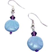SALE Stunning Art Deco Czech Glass Earrings, RARE 1930's Czech Deco Glass Beads, Aquamarine