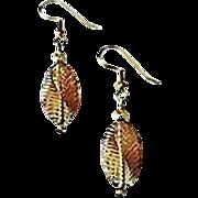 SALE Stunning Bronze Czech Art Glass Earrings, SCARCE 1940's Czech Beads