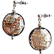 SOLD Dazzling Venetian Art Glass Earrings, Silver Foil Murano Glass Beads, Aventurina