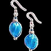 SALE Gorgeous Twisted Venetian Art Glass Earrings, Aegean Blue & Silver Foil Murano Glass Bead