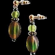 SALE Gorgeous Czech Art Glass Earrings, RARE 1940's Czech Satin Glass Beads