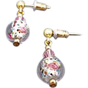 SALE Stunning Czech Art Glass Earrings, Crystal Czech Silver Foil Beads, Roses