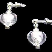 SALE Fabulous Venetian Art Glass Earrings, Silver Foil Murano Glass Hearts