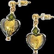 SALE Elegant Olivine Venetian Art Glass Earrings, 24K Gold Foil Murano Glass Hearts