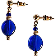 SALE Stunning Venetian Art Glass Earrings, RARE 1940's Cobalt Blue Venetian Beads