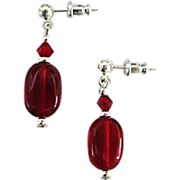 SOLD Gorgeous Red German Art Glass Earrings, SCARCE 1940's German Glass Beads