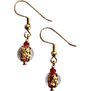 SALE Fabulous Red Venetian Art Glass Earrings, 24k Gold Foil, Murano Glass Beads