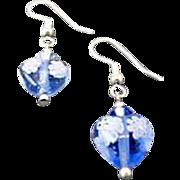 SALE Stunning Venetian Millefiori Art Glass Earrings, Hearts, Flower, Blue & White Murano Glas