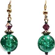 SALE Fabulous Green German Art Glass Earrings, RARE 1960's German Crackle Glass Beads