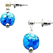SALE Stunning Venetian Millefiori Art Glass Earrings, Turquoise & White Murano Glass Beads
