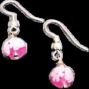 SALE Beautiful Venetian Millefiori Art Glass Earrings, Pink & White Murano Glass Beads