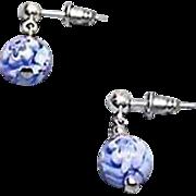 SALE Stunning Venetian Millefiori Art Glass Earrings, Blue & White Murano Glass Beads