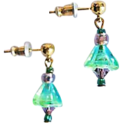 SALE Gorgeous German Art Glass Earrings, RARE 1940's German Glass Beads