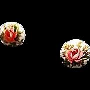 SOLD Exquisite White Czech Art Glass Pierced Earrings, Scarce 1960's Czech Glass Beads