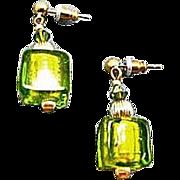 SALE Dazzling Venetian Art Glass Earrings, Peridot Green 24K Gold Foil Lampwork Murano Glass B