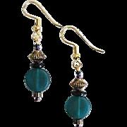 SALE Gorgeous Teal Czech Art Glass Earrings, RARE 1940's Czech Satin Glass Beads