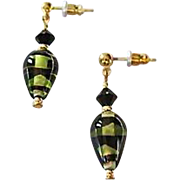 SALE Stunning German Art Glass Earrings, SCARCE German Glass Beads, Olive Green, Black & Gold,