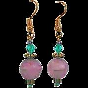 SALE PENDING Gorgeous Purple German Art Glass Earrings, RARE 1960's German Glass Beads