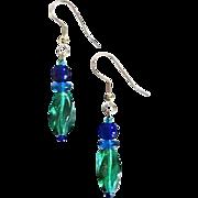 SALE Gorgeous Teal Czech Art Glass Earrings, RARE 1940's Czech Beads