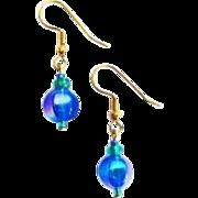 SALE Gorgeous German Art Glass Earrings, RARE 1960's Metallic German Beads