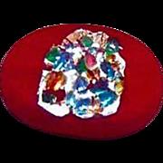 SALE Dazzling Red Czech Art Glass Pin, Silver Foil, RARE 1950's Czech Glass Bead