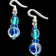 SALE Gorgeous Blue German Art Glass Earrings, RARE 1940's German Glass Beads