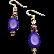 SALE Fabulous German Satin Glass Earrings, RARE 1940's German Navy Blue Beads
