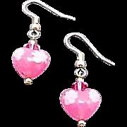 SALE Stunning Venetian Millefiori Art Glass Earrings, Pink Hearts, Millefiori Murano Glass ...