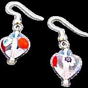 SALE Stunning Venetian Millefiori Art Glass Heart Earrings, Millefiori Murano Glass Beads, ...