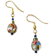 SALE Striking German Art Glass Earrings, RARE 1940's Faceted German Glass Beads